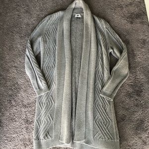 Long Knitted Gray Open Cardigan Small